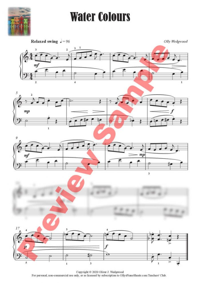 Water Colours preview - piano sheet music